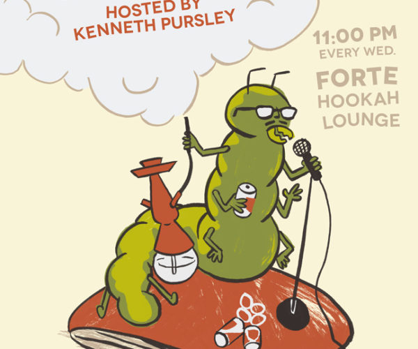Open Mic Comedy with Kenneth Pursley (caterpillar poster)
